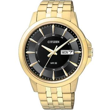 Citizen Quartz Mens Day/Date Watch - Gold-Tone Case - Black Dial