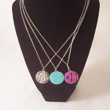 Monogram Gift, Monogram enamel necklace, Personalized necklace, Enamel necklace, Personalized gift, stocking stuffer, christmas gift