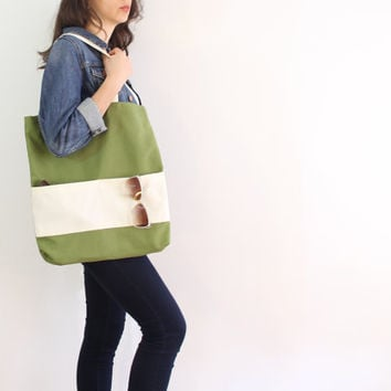 Green tote bag, canvas beach bag, daily tote, diaper bag, cotton bag