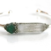 Clear Quartz and May Birthstone Emerald Boho Gypsy Spiritual Healing Raw Rough Natural Crystal Gemstone Stone Gold or Silver Cuff Bangle Bracelet with Pyrite