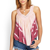 FOREVER 21 Tie-Dyed Crochet Top Pink/Peach