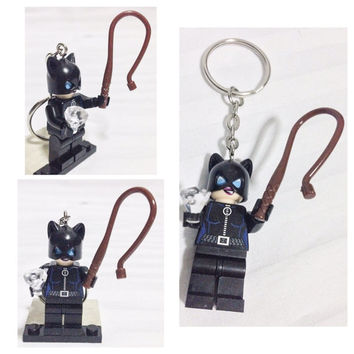 BOGO Buy 1 Get 1 Promo! Lego® CATWOMAN Keychain, Cat Woman Batman, Lego Superhero Keychain, FREE Lego® Minifigure Keychain Party Favors Gift