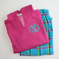 Monogrammed Pajama Set Pacific Surf Flannel Pants with Comfort Color Raspberry Hoodie Christmas Gift Set
