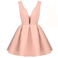 Pink Bridgette Retro Slim V-Neck Skater Cocktail Party  Dress