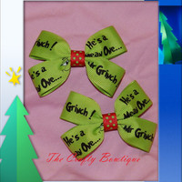 50% off Clippie PIgtail Hair Bow Set ~  Red & Neon Green Mr. Grinch, Baby Hair Bows, Christmas Hair Bows, Christmas in July