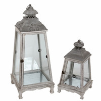Stunning 2Pc Vintage Wooden Lanterns by Privilege
