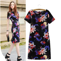 Stylish Round-neck Short Sleeve Print Slim Women's Fashion One Piece Dress [5013226180]