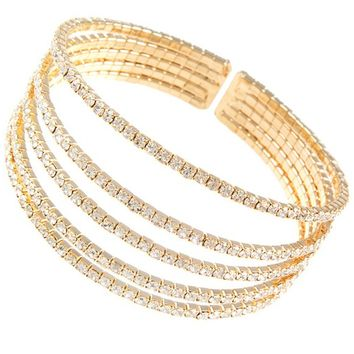 Five-Part Rhinestone Bracelet- Gold