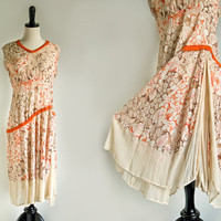 Stunning 1920s Flapper Dress Embroidered Vintage Antique Fringe Floral Orange Pleated