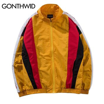 GONTHWID Vintage Color Block Patchwork Track Jackets Hip Hop Casual Full Zip Up Coats 2018 Autumn Mens Fashion Streetwear Jacket