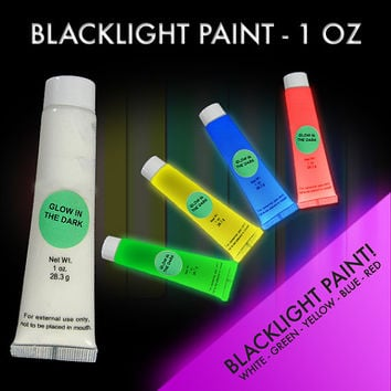 5-pack of Novelty Glow in the Dark and Black Light Paint:  1 oz. tubes Rave Paint  Glow Run paint