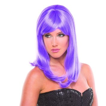 Lavender Solid Color Hollywood Bangs Wig