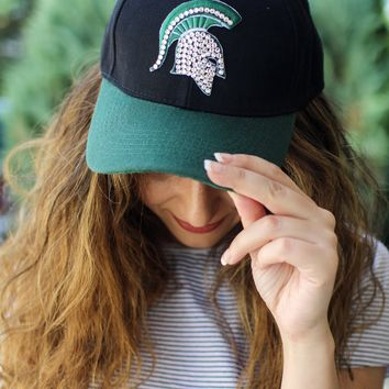 finest selection 68ccb dcd5f Rhinestone Spartan Michigan State Hat