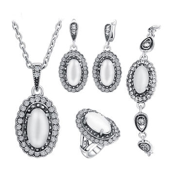 Women Turkish Vintage Jewelry Set Natural Stone White Opal Jewelry Sets Ancient Silver Plated Pendant Necklace Wedding Jewellery