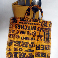 Halloween Table Accents, Holiday Napkin Utensil Holder, Mini Placemat, Holiday Coasters, Trick or Treat Burlap Bag