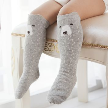 Cute Anti-Slip Cartoon Animals Kids Socks Cotton Baby Kid Knee High Socks Baby Girls Socks