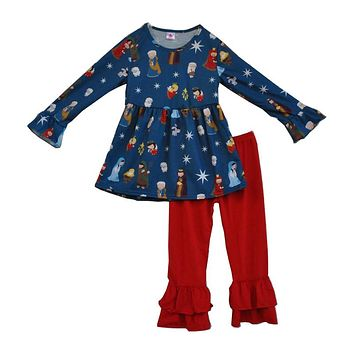 Hot Sale Giggle Moon Girls Clothing Long Sleeve God Baby Jesus Print Dress Red Double Ruffle Pants Children Baby Outfits F071