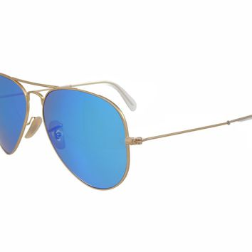 Cheap Ray Ban Aviator RB3025 112/4L Matt Gold / Blue Mirror Polarized 58mm Sunglasses