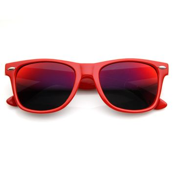 Retro Bright Horn Rimmed Sunglasses with Colorful Mirrored Lenses - UV400