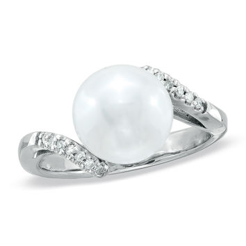 10.0mm Cultured Freshwater Pearl and Diamond Accent Bypass Ring in Sterling Silver