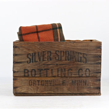 Wood Soda Pop Crate Silver Springs Bottling Co, Wood Soda Crate, Rustic Wood Crate, Rustic Decor, Soda Crate Wooden, Industrial Decor