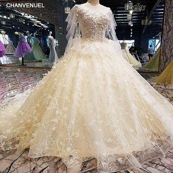 LS00116 Luxury wedding dress for bridal beading ball gown short sleeves lace wedding gowns vestidos de noivas real photos 2018