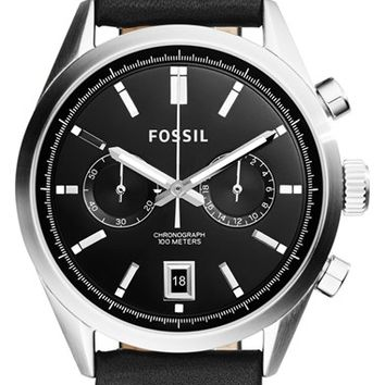 Men's Fossil 'Del Rey' Chronograph Leather Strap Watch, 43mm