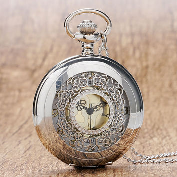 Hollow Silver Pendant Fob Pocket Watch With Necklace Chain For Men Women