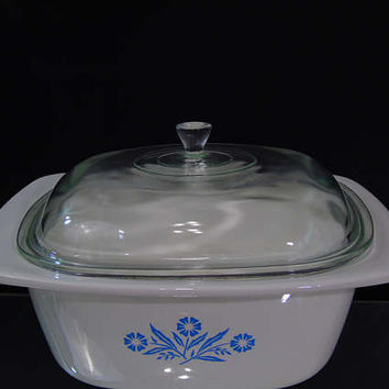 Dutch Oven 4 Qt Corning Ware Blue Cornflower P 34 B Vintage Grandmas Kitchen