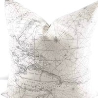 World Map Beige & Grey Pillow Cover