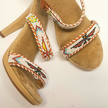 Native American Beaded High Heel Sandals 6.5 | 70s does 40s flapper boho chic vintage heels | Navajo Thunderbird hippie dressy slip-on shoes