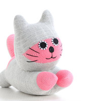 Stuffed Cat Stuffed Animal Cute Plush Toy Cat Kawaii Plushie Buddy the pink and grey  Cuddly Snuggly SOCK Kitty Cat  (F)1#