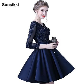 Suosikki Robe de soiree New short Prom Dresses 2016 V Neck Long Sleeves A-Line Beading Sequined Formal Evening Gown