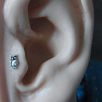 Mini Owl tragus / cartilage /helix earing (1pc)