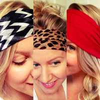 Scarf Headband, Black and White, Leopard, Chevron Red