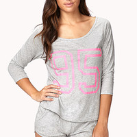 FOREVER 21 95 Graphic PJ Set Heather Grey/Pink