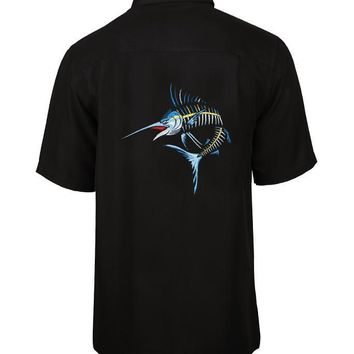 Men's Action Marlin Bones Embroidered Fishing Shirt