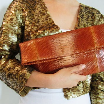 Metallic Bronze Fold Over Python Snakeskin Leather Clutch Bag