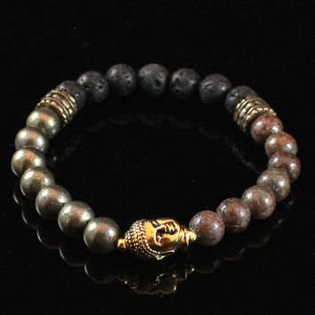 Men's Buddha Bracelet with Lava Rock, Meditation