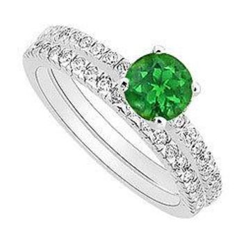 Emerald and Diamond Engagement Ring with Wedding Band Set : 14K White Gold - 0.75 CT TGW