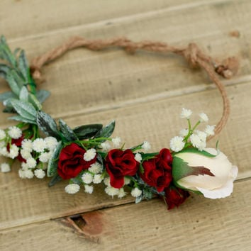 Silk Burgundy and Marsala Fall Flower Crown - Adjustable