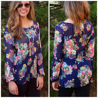 Crinkle In Time Navy Floral Top