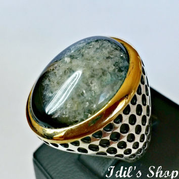 Men's Ring, Turkish Ottoman Style Jewelry, 925 Sterling Silver, Authentic Gift, Traditional, Handmade, With Black Agate, US Size 9, New