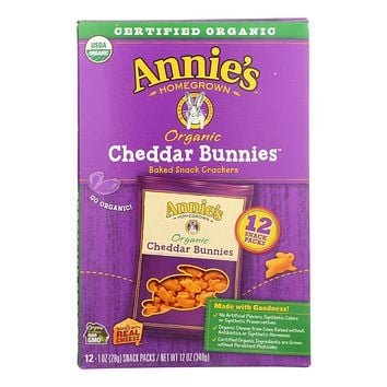 Annie's Homegrown Organic Bunny Cracker Snack Pack - Cheddar - Case Of 4 - 12-1 Oz