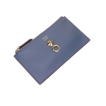 Fendi By The Way Grey Zipped Card Case Wallet Coin Purse 8M0388 F11C3