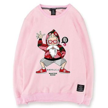 ONETOW dragon ball z master roshi bape new balance pink green white black grey sweatshirt mens womens funny printed fleece hip hop winter cotton casual oversized sweater