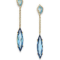 Alexis Bittar Fine - Royal Marquis London Blue Topaz, Diamond & 18K Yellow Gold Drop Earrings - Saks Fifth Avenue Mobile