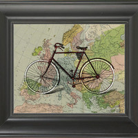 A bicycle in the world -printed on Map page. 250Gram paper.