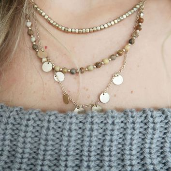 Alone With You Necklace: Gold/Multi