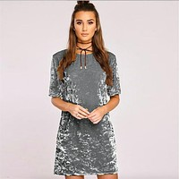 Velvet retro oversize tshirt dress